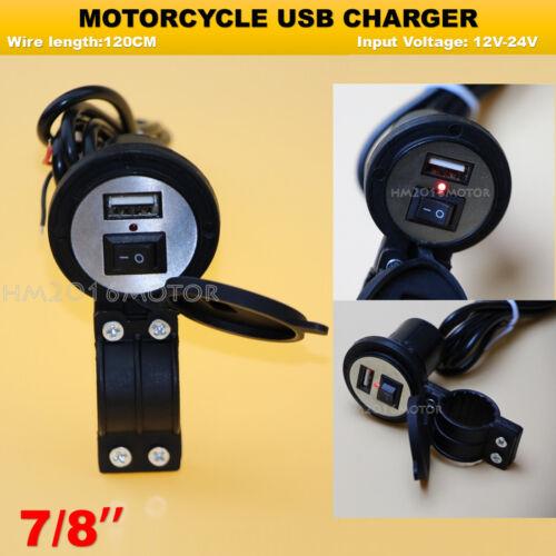 Motorcycle Black USB Phone Charger For Kawasaki Z1000 Z750 Z750R Versys 650 1000