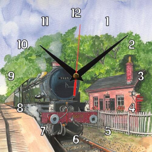 N ° 271 nunney castle train à vapeur Sue podbery Horloge Murale Cadeau fait main