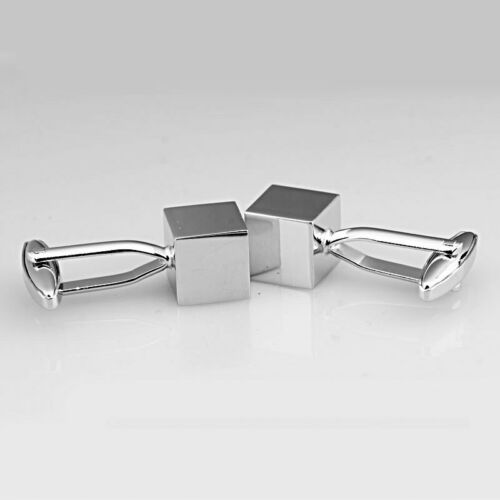 Classic Plain Silver Square Polished Cube Engineer Block Formal Party Cufflinks