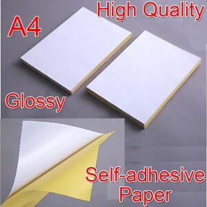Details Zu A4 Weiß Glänzend Selbstklebende Aufkleber Papier Blätter Adress Etikette Drucker