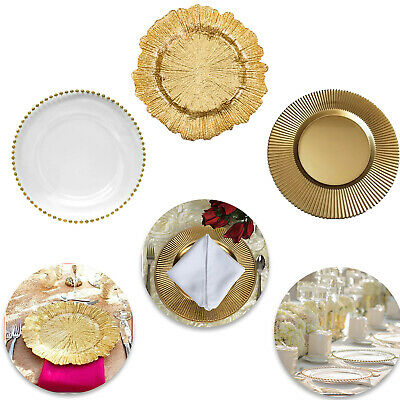 Gold Silver /& Rose Gold Beaded Decorative Wedding Dinner plate Elegant Design Glass Charger Clear//Gold