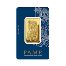1 oz PAMP Gold Suisse Lady Fortuna Bar .9999 Fine Sealed In Assay