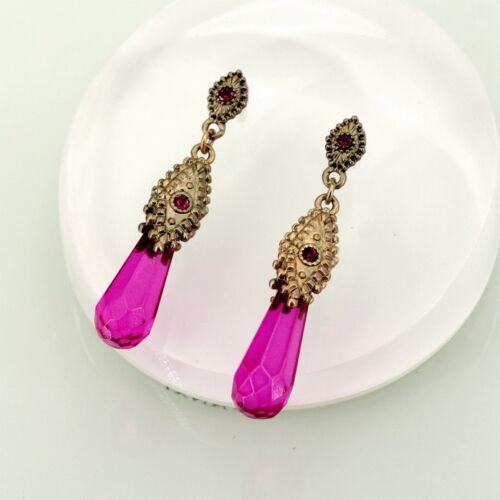 Boucles d/'Oreilles Goutte Violette Retro Ancien Style Original Soirée EE 6