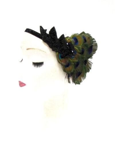 Green Peacock Black Feather Headband Headpiece 1920s Flapper Great Gatsby 2232