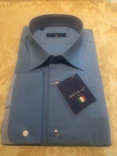 see other double cuffs too Mens Blue Double Cuff Italian Slim Fit Shirt