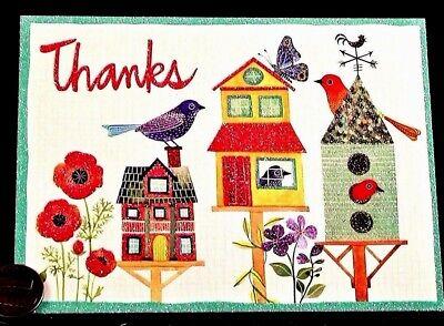 Cute Koala Flowers Basket Thank You GLITTERED Small Blank Greeting Note Card NEW