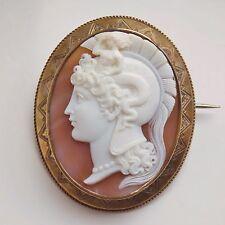 Antico Vittoriano cameo di Atena o Minerva In Princisbecco o dorata Mount c1865