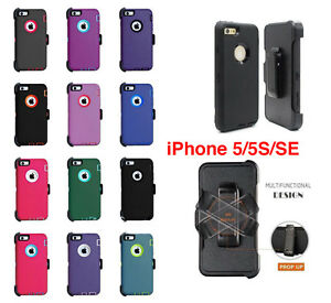 Defender-Case-w-Screen-Protector-Holster-For-iPhone-5S-5-SE-Clip-Fits-Otterbox