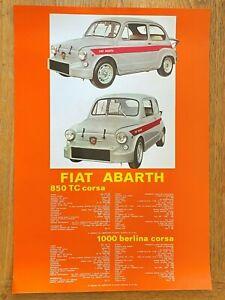 GLOSSY-FIAT-ABARTH-POSTER-49-x-34cm-FEATURING-ABARTH-850TC-CORSA-1000-BERLINA