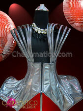 Strappy metallic futuristic Gaga inspired Dolly style overdress in Silver