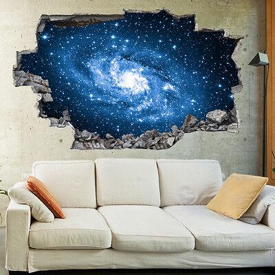 Spaceship Window 3D Wall Mural Wallpaper Wall Stickers Galaxy Stars Planets