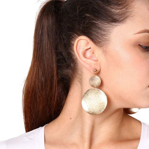Fashion Women Gold Silver Circle Statement Geometric Dangle Drop Earring Jewelry