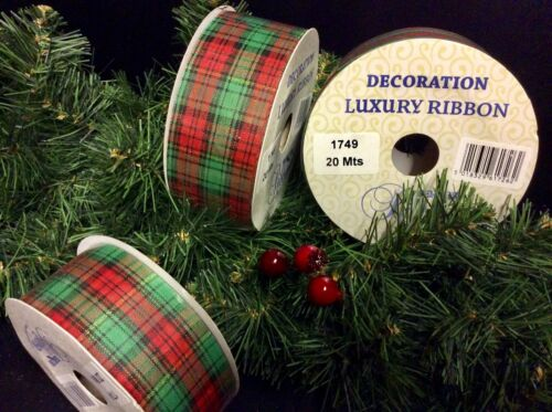 1 ROLL CHRISTMAS TARTAN RIBBON DECORATION TREES WRAPPING WREATHS BOW NEW YEAR