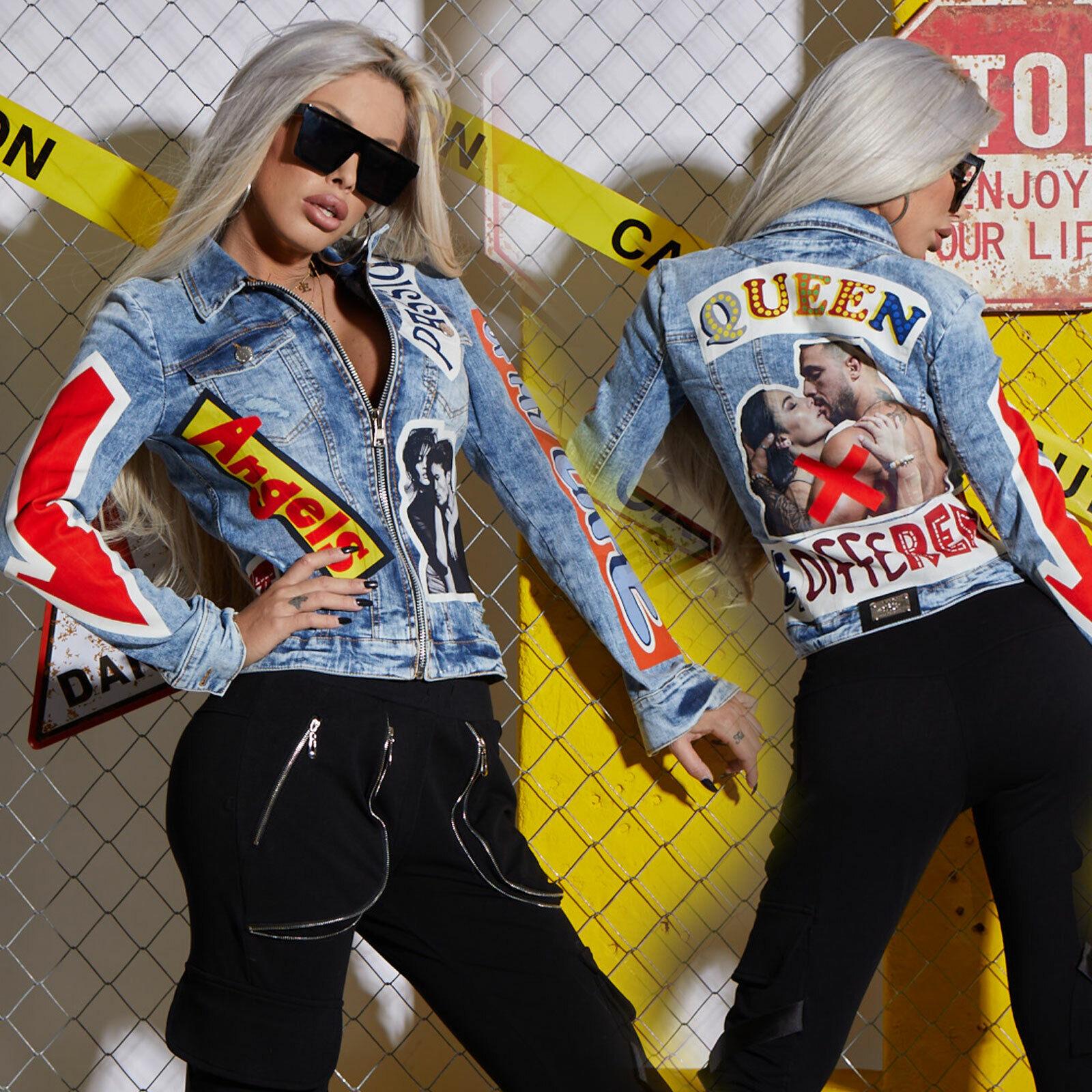 By Alina Mexton Damenjacke Jeansjacke Kurze Jeans Jacke Print Blau Rot XS-M