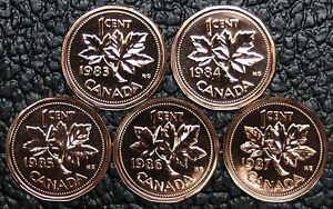 CANADIAN-GEM-1-CENT-PENNIES-LOT-OF-5-1983-1987-Pulled-from-PL-Sets-NCC