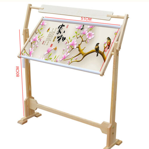 Cross Stitch Frame Floor Stand Wooden Embroidery Tapestry Hoops Wooden