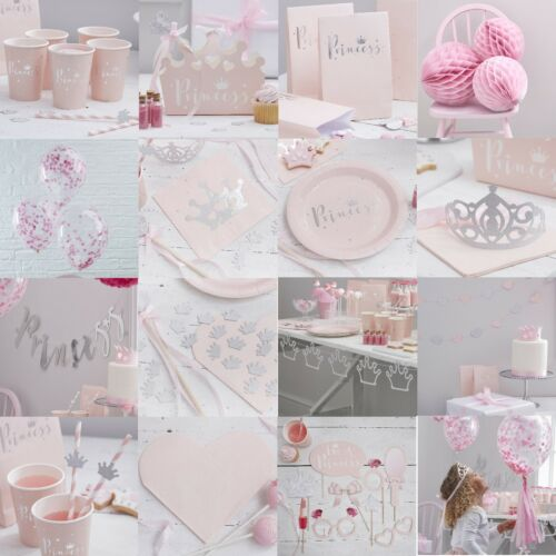 5 TIARAS Silver Glitter PRINCESS Birthday Party Hat Crown Girls Pink Ribbon Star