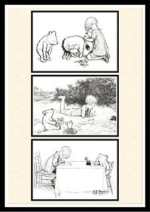 Winnie the Pooh Classic SET OF 3 PRINTS New Baby Baptism Gift A4 Prints Only