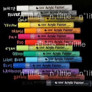 14 Colors STA Bright & Colorful Metallic Acrylic Painter Marker Craft Scrapbook
