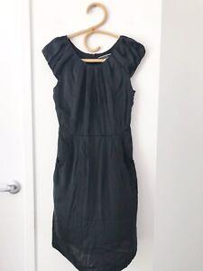 BASQUE-Size-8-Black-Capped-Sleeve-100-Silk-Knee-Length-Formal-Business-Dress
