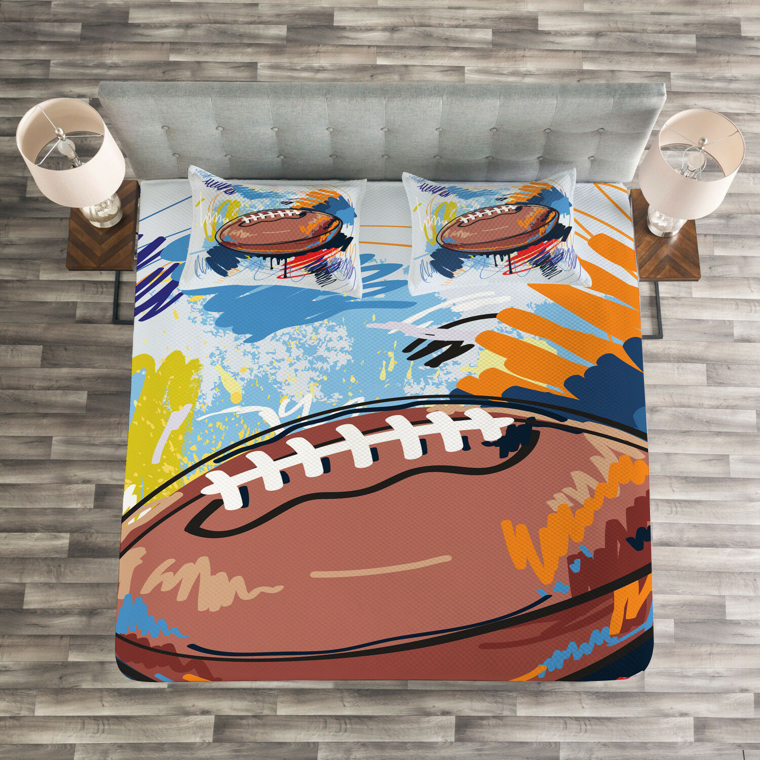 colorful Quilted Bedspread & Pillow Shams Set, Rugby Ball Doodle Art Print