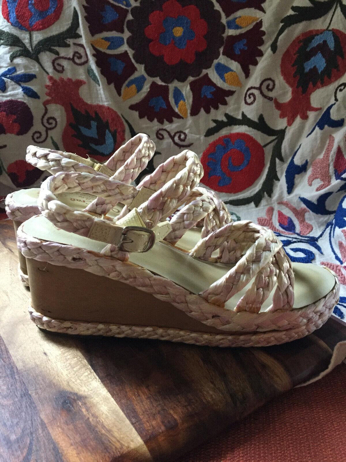70s Platform Clog Sandals Wood Wedge Macrame Sandals Espadrilles Vintage 8.5
