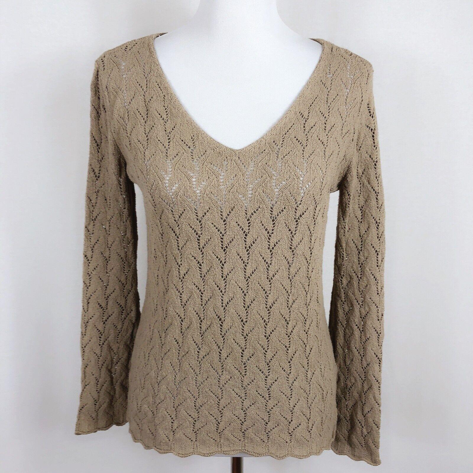 J.Jill Women Medium Khaki Brown Crochet Knit Sweater Long Sleeve Boho Festival