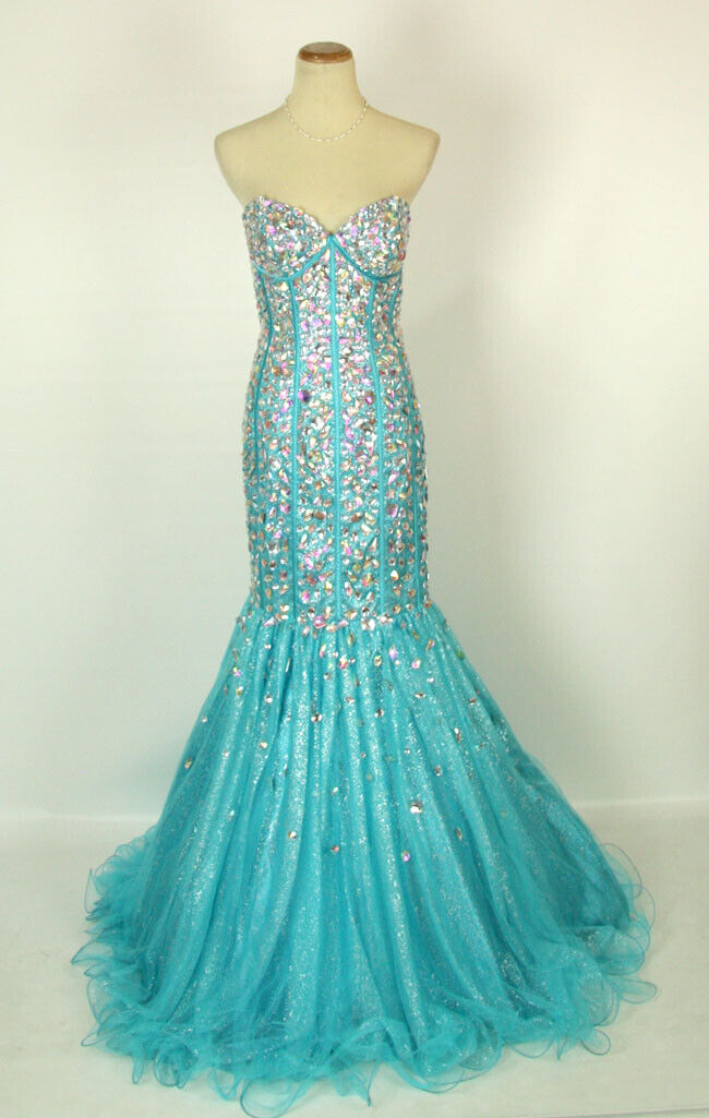 NWT Mermaid Aqua Size 2 Strapless Long Prom Formal Beads Eve Gown Cruise Dress