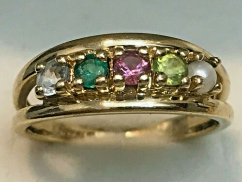 GEMS RING  2.59 GRAMS SIZE 6.5 RING BOX SIGNED 10K GOLD AND PRECIOUS MULTI