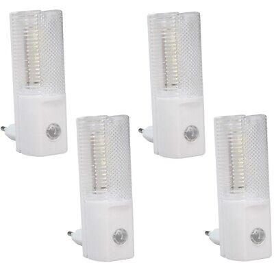 4x Led-nachtlicht Ln-04 M. Dämmerungssensor Mit 4 Weißen Leds Für Steckdose 230v Aangenaam In De Nasmaak