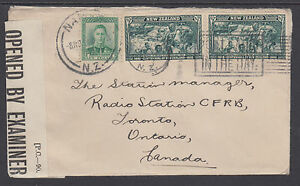 New Zealand Sc 226, 229 (2) on 1944 Censored Cover to Toronto