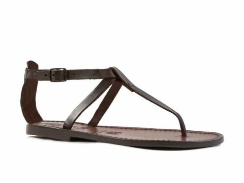 Womens ankle strap thong slave sandals in Dark Brown Leather handmade in Italy
