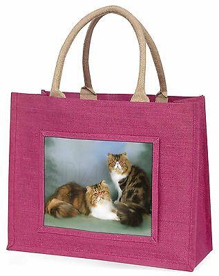 Tabby Tortie Persisch Katzen Große Rosa Einkaufstasche Weihnachtsgeschenk
