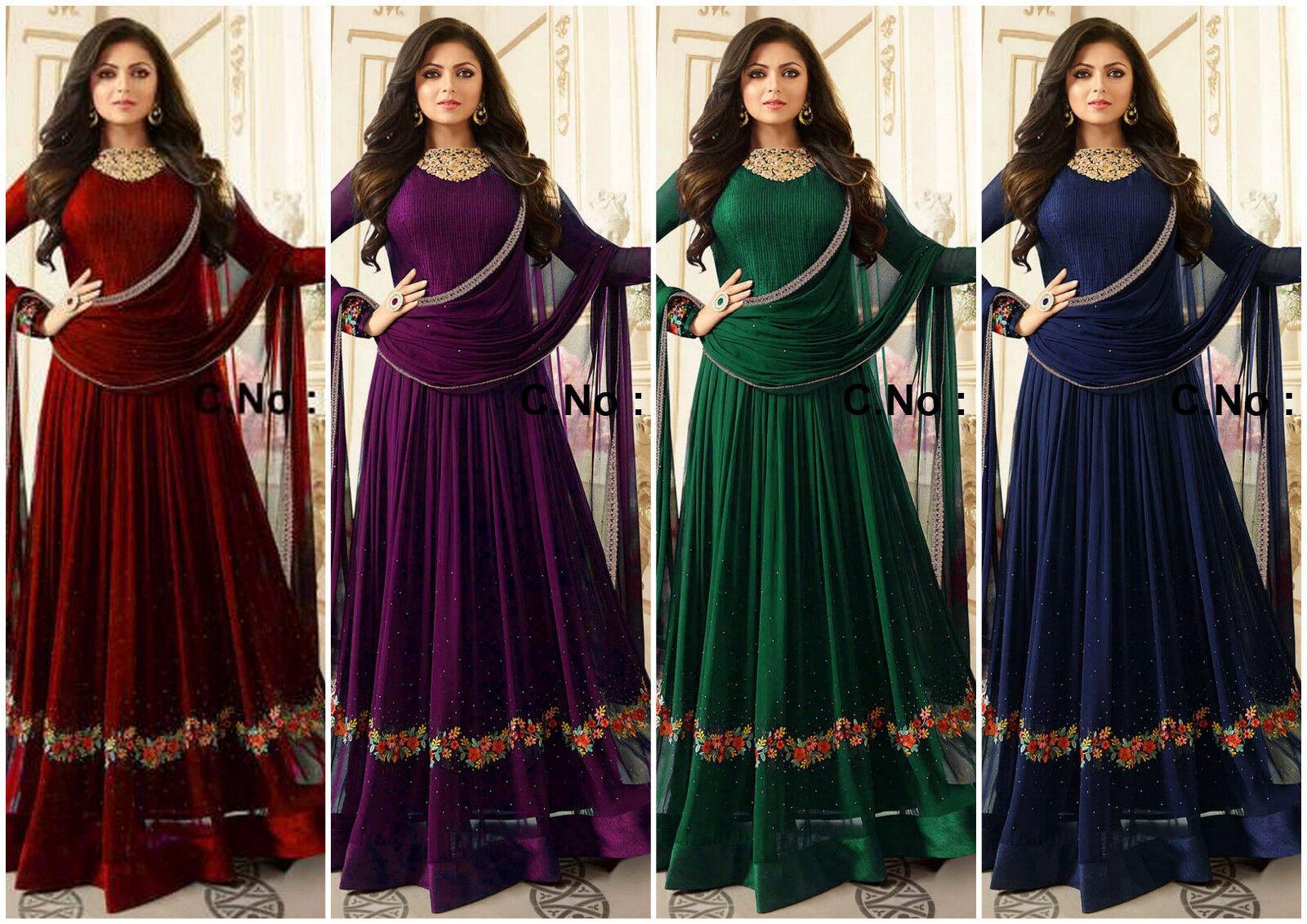 Indian Designer Anarkali Salwar Kameez Style Designer Salwar Suit Duppta Maroon