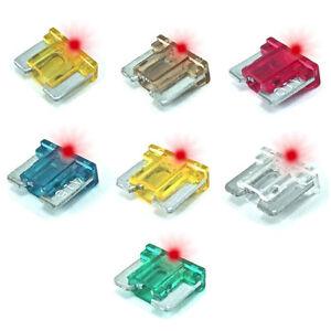 7 Pcs Assorted Led Low Profile Mini Blade Car Glow Fuse 5 7 5 10 15