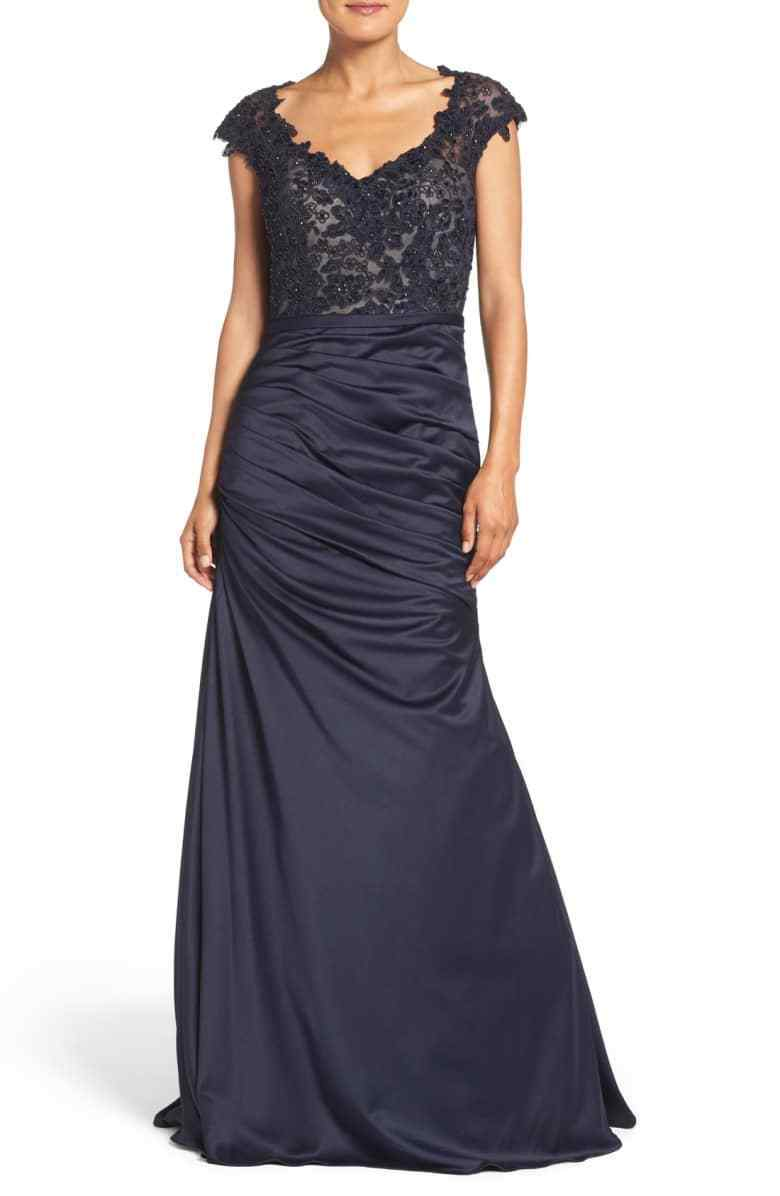 LA FEMME EMBELLISHED LACE & SATIN MERMAID NAVY GOWN DRESS sz 0