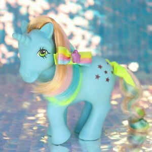 Vintage-My-Little-Pony-STARFLOWER-Blue-Unicorn-Rainbow-Stars-G1-MLP-Rehair-BO885