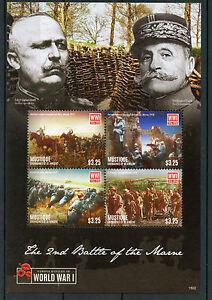 Mustique Gren St Vincent 2015 MNH WWI 2nd Battle Marne 4v M/S Ludendorff Stamps