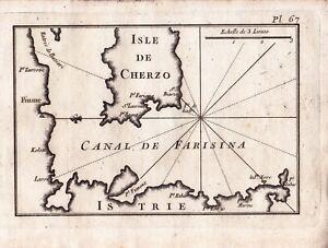 Carte-Geographique-XVIIIe-Cres-Ile-De-Cres-Cherzo-Croatie-Canal-de-Farisina-1764