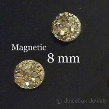 MAGNETIC Gold Faux Druzy, Fools Gold, Non Pierced 8mm Stud Trendy Earrings M180