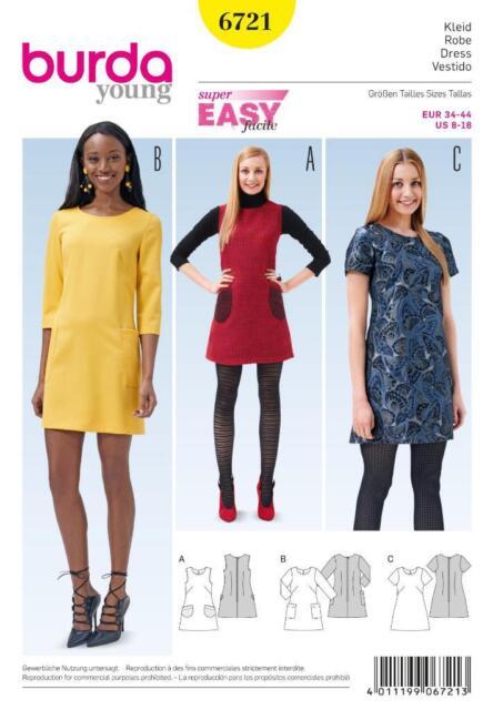 Burda 6721 Schnittmuster Damen Kleid Kleider Trägerkleid | eBay