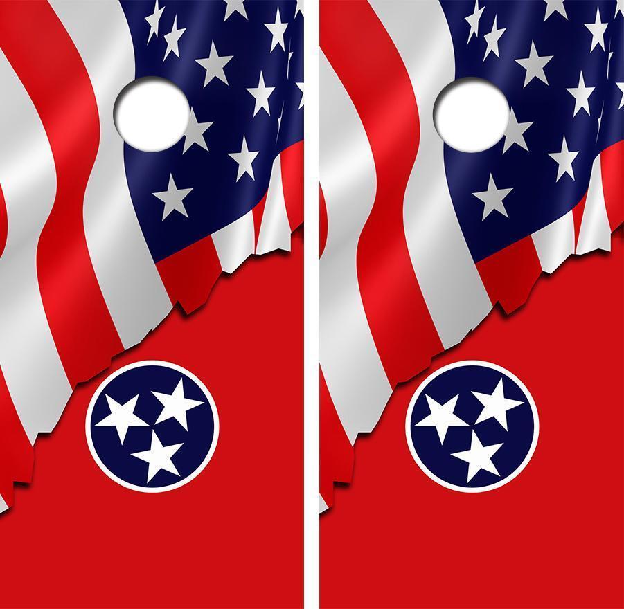 American Tennessee Flag Cornhole Board Skin Wrap FREE Laminate
