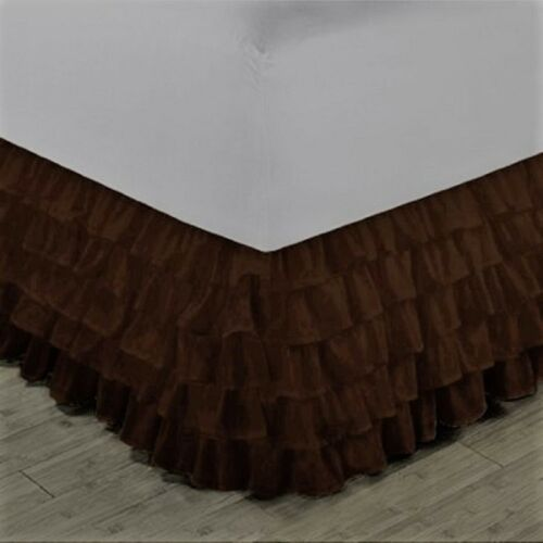 """1 Wrap Around Elastic Bedding Bed Dressing Easy Fit Solid Skirt 14/"""" inch Drop"""