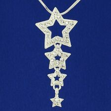 """Star W Swarovski Crystal Dainty 3 Wish Stars Pendant Necklace 18"""" Chain Gift"""
