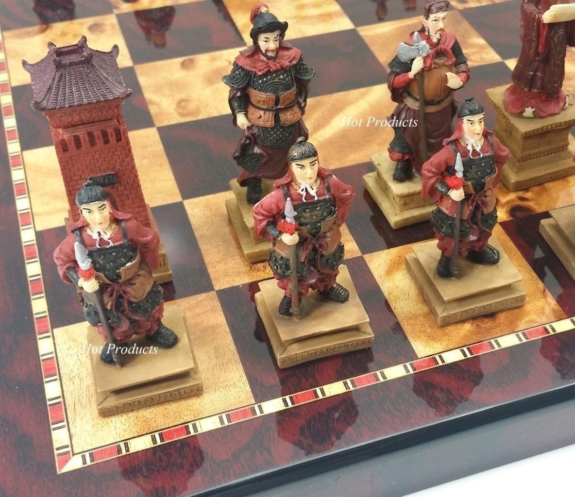 ORIENTAL THREE KINGDOMS Chess Set W/ LARGE CHERRY & BURL WOOD FINISH BOARD 18