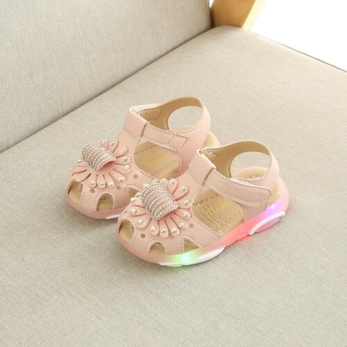 Child Baby Girls Crystal Flower LED Light Flashing Sandals Party Shoes Soft Sole