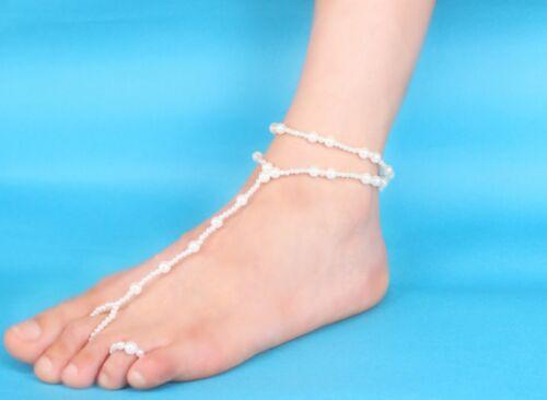 Fashion Women Pearl Barefoot Sandal Anklets Foot Chain Toe Ring Beach Bracelets
