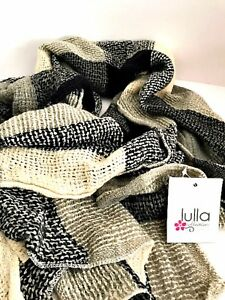 Soft-Scarf-Wrap-Loose-Weave-Black-Gray-Cream-Lulla-by-Bindya-Fashion-Accessory