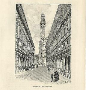 Print Ancient Florence UFFIZI porches 1892 Old Print Florence