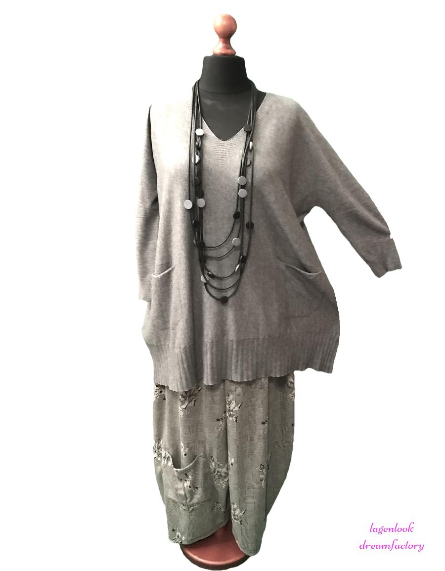Lagenlook ° coccoloso-Long-Borse-maglione maglia a costine-federale Tunica XL, XXL, XXL, XXL, 44,46,48 d194c5